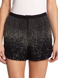Haute Hippie Ombre Embellished Shorts Black Silver