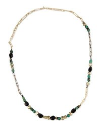 Alexis Bittar Long Crystal Chain Link Necklace Green Black
