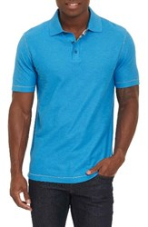 Robert Graham Men's Messenger Pique Polo Heather Turquoise
