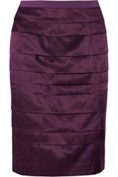 Ports 1961 Tiered Silk And Cotton Blend Skirt Plum