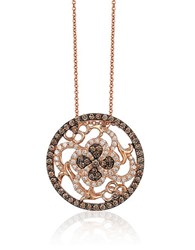 Le Vian Chocolatier Chocolate Diamond Vanilla Diamond And 14K Strawberry Gold Intricate Pendant Necklace Rose Gold