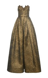 Andrew Gn Strapless Gown With Embroidery Gold
