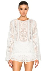 Chloe Chloe Cotton Mix Lacy Jacquard Sweater In White