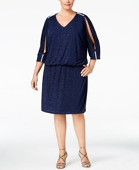 Msk Plus Size Rhinestone Cold Shoulder Blouson Dress Glam Navy