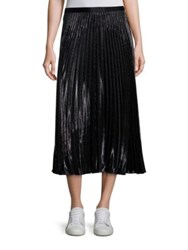 Diane Von Furstenberg Heavyn Metallic Pleated Midi Skirt Black