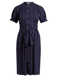 Sea Short Sleeved Varsity Plaid Cotton Dress Navy Multi