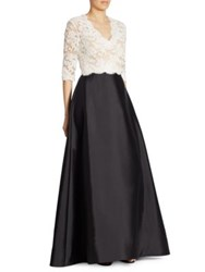 Reem Acra Embroidered Lace Silk And Wool V Neck Gown White Black