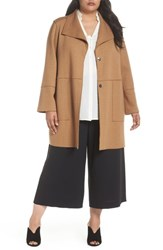 Kenneth Cole Plus Size New York Envelope Collar Wool Knit Coat Camel