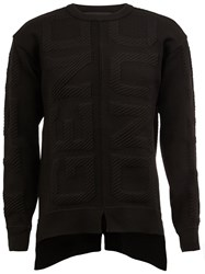 Juun.J Asymmetric Textured Knit Jumper Black