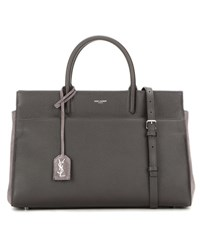 Saint Laurent Small Rive Gauche Leather And Suede Shoulder Bag Grey