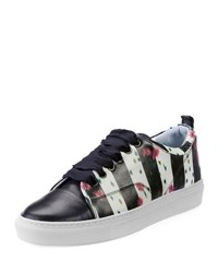 Lanvin Floral Print Leather Low Top Sneaker Black White