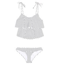 Lisa Marie Fernandez Imaan Ruffled Bikini Swimsuit White