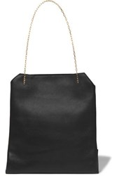 The Row Lunch Bag Small Leather Tote Black