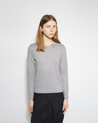 Comme Des Garcons Girl Longsleeve Bow Neck Tee Top Grey