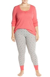 Plus Size Women's Make Model 'Better Together' Pajamas Coral Sugar Hearts