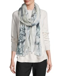 Brunello Cucinelli Ink Flower Linen Scarf Multi