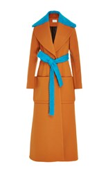 Delpozo Wool Wrap Long Coat Brown