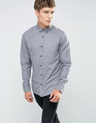 Only And Sons Brushed Cotton Button Down With Contrast Cuff Gray