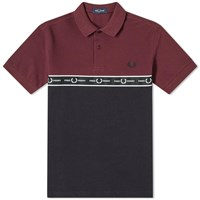 Fred Perry Chest Logo Taped Polo Burgundy