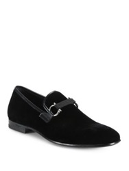 Salvatore Ferragamo Velvet Party Loafers Black
