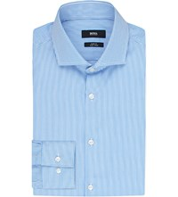 Hugo Boss Slim Fit Stripe Print Cotton Shirt Light Pastel Blue