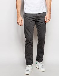 Solid Straight Fit Chinos Gray