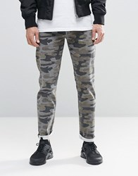 Asos Stretch Slim Jeans In Camo Khaki