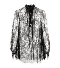 Alexander Mcqueen Ruched Sheer Lace Blouse Female Black