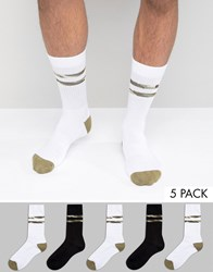 Asos Sports Style Socks With Camo Stripes 5 Pack Black Multi