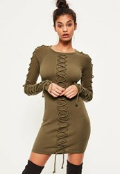 Missguided Khaki Lace Up Detail Ribbed Bodycon Dress