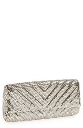 Whiting And Davis Quilted Chevron Clutch Metallic Pewter