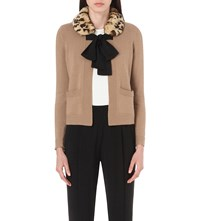 Claudie Pierlot Mariejo Faux Fur Collar Knitted Cardigan Beige