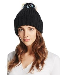 Aqua Ribbed Beanie With Sequined Pompom Black