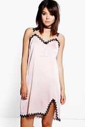 Boohoo Lace Trim Slip Dress Pink