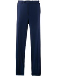 Canali Straight Tailored Trousers Blue