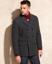 Marc New York Coat Holmes Shawl Collar Herringbone Wool Peacoat Black Charcoal