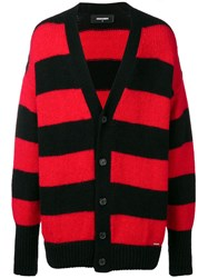 Dsquared2 Horizontal Stripes Cardigan Black