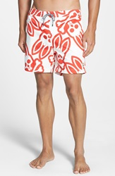 Psycho Bunny 'Graphic Bunny Print' Swim Shorts Red White