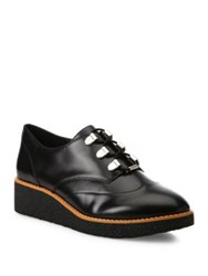 Rebecca Minkoff Polly Leather Wedge Oxfords Black