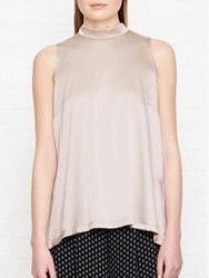 Reiss Blaire High Neck Silk Front Top Clay