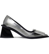Marques Almeida Oversized Bow Detail Metallic Leather Pumps Silver