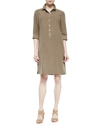 Go Silk 3 4 Sleeve Silk Shirtdress Stone Edge