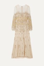 Monique Lhuillier Embellished Tulle Gown Beige