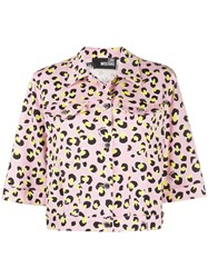 Love Moschino Leopard Print Cropped Jacket Pink