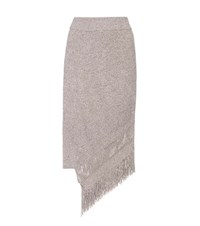 Stella Mccartney Asymmetrical Cashmere And Wool Skirt Beige
