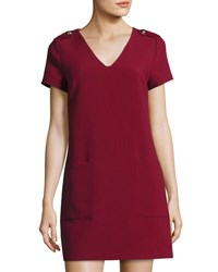 1.State Epaulet Short Sleeve Shift Dress Wine