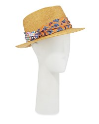 Etro Straw Fedora Hat With Silk Band Orange