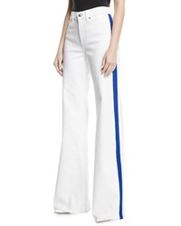Ralph Lauren 143 High Rise Wide Leg Jeans With Contrast Side Stripe White
