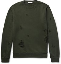 Sandro Distressed Loopback Cotton Jersey Sweatshirt Army Green
