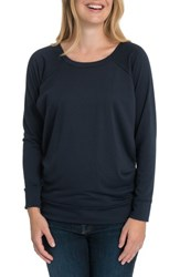 Bun Maternity Blissful Cross Back Nursing Pullover Navy